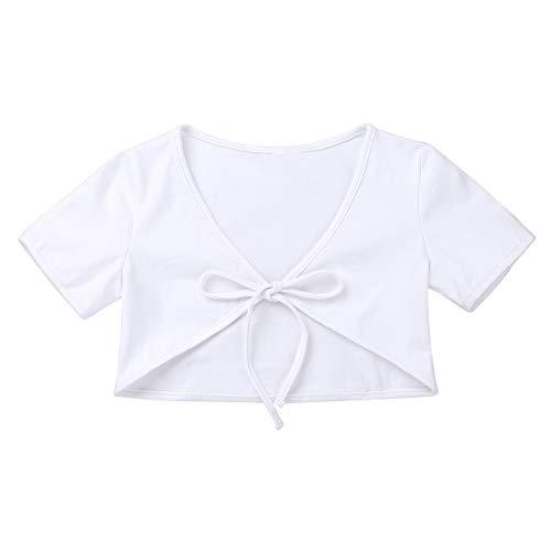 Alvivi Kinder Ballett Wickeljacke Bolero Mädchen Gymnastik Tanz Shirt Ballettjacke Kurz Ärmel für das Ballett Training A Weiß 122-128