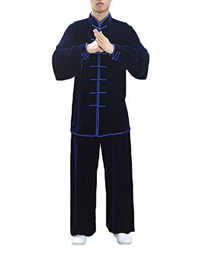 Unisex tai chi abbigliamento cotone e lino per l'uomo uniforme qi gong e kung fu abiti da arti marziali marina xl