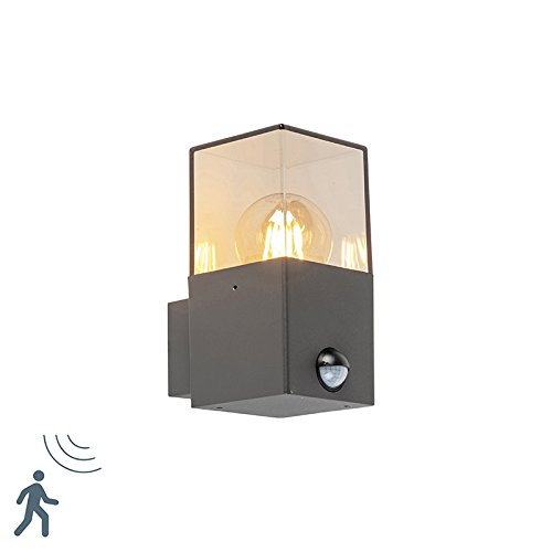 QAZQA Modern Moderne rechteckige Außen Wandleuchte dunkelgrau mit Bewegungsmelder/Außenbeleuchtung Aluminium/Kunststoff Würfel/Quadratisch/Rechteckig LED geeignet E27 Max. 1 x 13 Watt