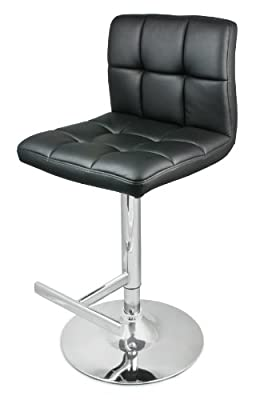 DF Sales Lamboro Allegro Leather Bar Stool, Black