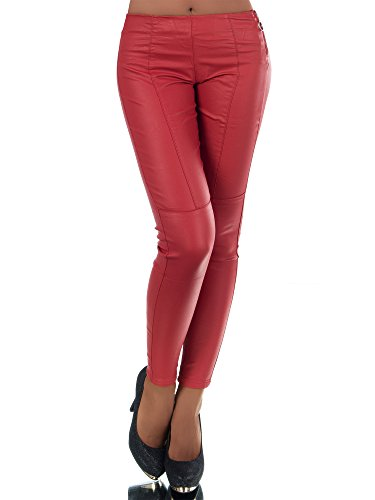 Damen Hose Treggings Jeggings Stoffhose Leder-Look Röhrenhose Leggings