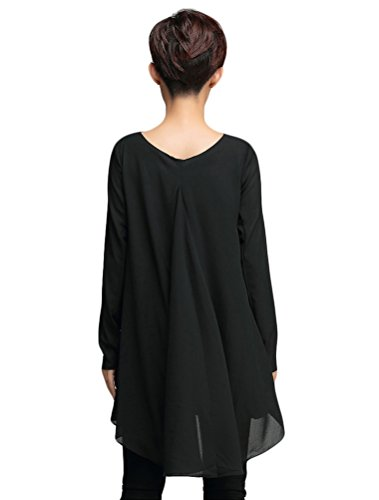 Voguees Women's Chiffon T Shirt Blouse Tops Noir