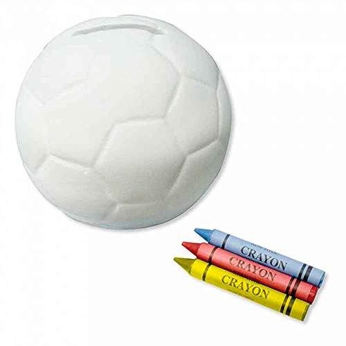 The Collection Lote de 6 Huchas con Forma balón de fútbol, Incluye Ceras para colorearla. Regalos para cumpleaños, Eventos Infantiles, Fiestas con niños.