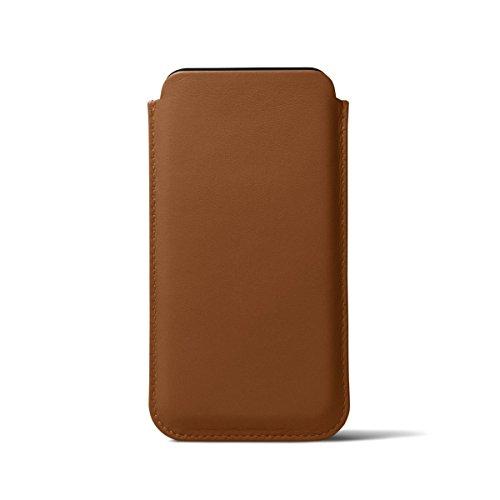 Lucrin - Schutzhülle mit Lasche für iPhone X - Natur - Glattleder Cognac