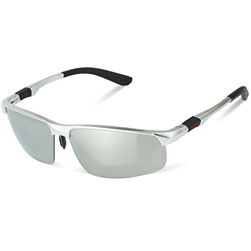 DUCO Herren Heiße Mode Driving Sonnenbrille Polarisierte Brille Sport Eyewear Angeln Golf mit Al-Mg Rahmen 8188 (Silber)