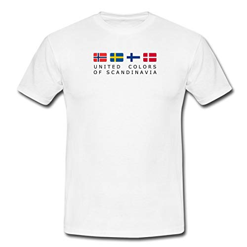 Spreadshirt United Colors Of Scandinavia Finnland Norwegen Schweden Dänemark Männer T-Shirt, L, Weiß