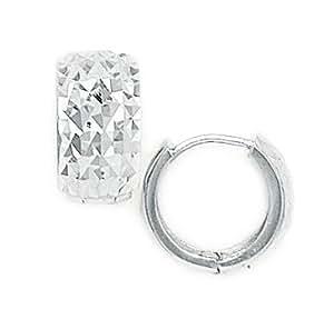 Sterling Silver Rhodium Plated Medium Diamond-cut Hinged Earrings - Measures 14x14mm