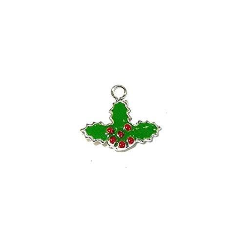 Schmuckprofessionals Anhänger Feiertage und besondere Anlässe Christmas Holly, Epoxy Charm aus 925 Sterling Silber