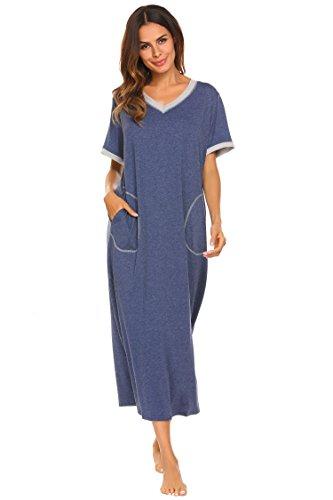 Weiche Damen-nachthemd (Damen Nachthemd Baumwolle still pyjama lang weich frauen schlafkleid V-Ausschnitt Nachtkleid sommer, Gr.-42,6619_Blau, XL)