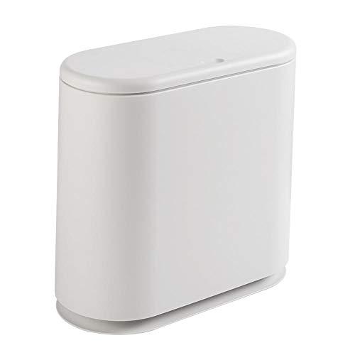 hlniubi Mülltrennsysteme Küchen-Abfalleimer Abfallbehälter fürs Bad Mülleimer Kunststoff Push-Typ Handnähpresse Flip Bad Küche 15x32.5x32cm weiß