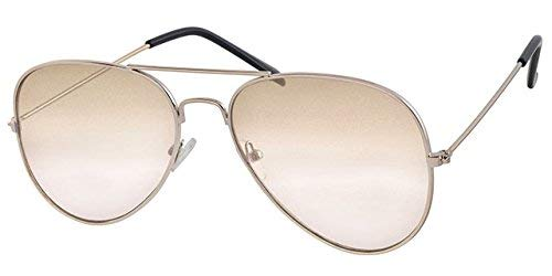 Flach Schwarz verspiegelt zu Braun Objektiv, Silber Rahmen Aviator Sonnenbrille, mit gratis gelb Halskordel