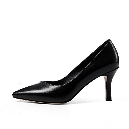 WSS chaussures à talon haut Talons de chaussures femmes haut talon pointé chaussures de mode simple de haute qualité en cuir Western confortables Black