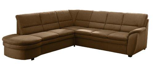 Cavadore Ecksofa Gingle / Sofa mit Federkern, Bettfunktion, Relaxfunktion und hochwertigem Mikrofaser-Bezug in Wildlederoptik / Klassisches Design / Größe: 260 x 89 x 240 cm (BxHxT) / Farbe: Braun