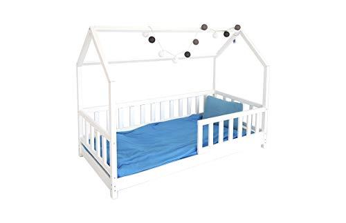 Children's Beds Home Einzelbett - Hütte für Kinder Kleinkind Junior mit 12 cm Schaum/Kokosnussfasermatratze, jedoch ohne Schubladen (180x90, Weiß)
