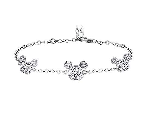 RC Damen-Armband, mit Weißgold vergoldet, 925er Silber, Maus-Zirkonia, Geschenk für Frauen und (Disney Armband)