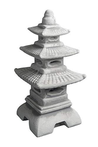Masiva linterna japonesa de piedra con forma de pagoda, de piedra artificial, resistente a las heladas, gris, 46 cm