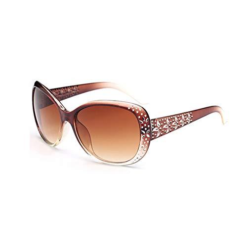 DFIHDCN Sonnenbrillen Frauen Strass Sonnenbrillen Vintage Oval Brille Famale Sonnenbrille Großen Rahmen Metall Muster Sonnenbrillen