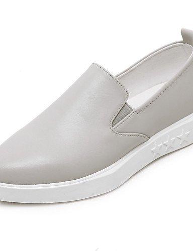 ShangYi gyht Scarpe Donna-Ballerine-Casual-Chiusa-Piatto-Di pelle-Grigio gray