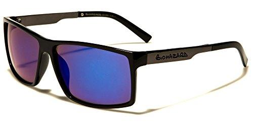 Biohazard-Moda Classica Rettangolare Designer occhiali da sole perfetto per sport o guida protezione totale UV400Free beachhutsunglasses Astuccio Incluso multicolore BLACK/BLUE LENS