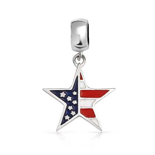 triotische Amerikanische Flagge Stern Charm Perle Für Damen Jugendlich Sterling Silber Passt Europäischen Armband ()