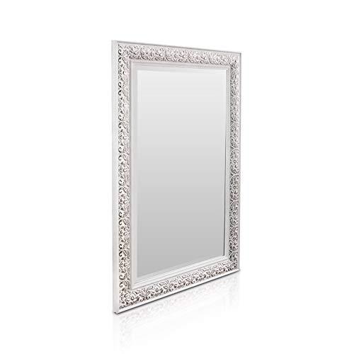 Rococo by Casa Chic - Espejo de Pared Shabby Chic - 90x60 cm - Gran Espejo Estilo Vintage Francés - Blanco y Plata Antiguo