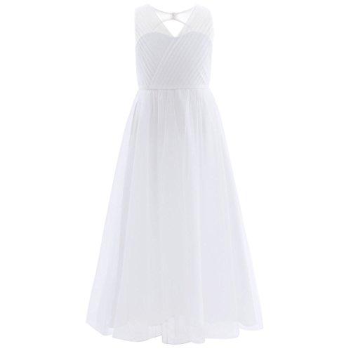 Freebily Mädchen Kleid lang A-Linie Partykleid Sommerkleid Hochzeit Blumenmädchen Kleider Abendkleid Brautjungferkleid Festzug in Gr. 104-164 Weiß 128