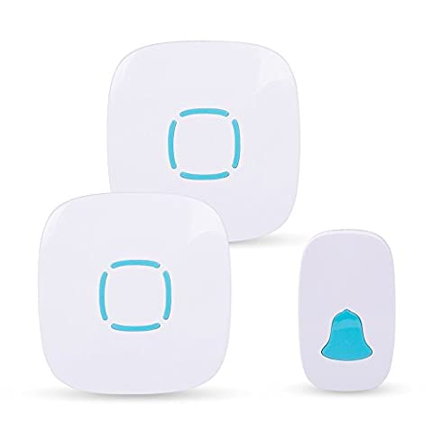 ZOADLE Easy Chime Wireless Doorbell Kit With LED Flashing Light on Plug in Receiver, Waterproof Push Button, 36 Chimes, 4-Level Adjustable Volume, for Home/Office (1 Transmitter + 2
