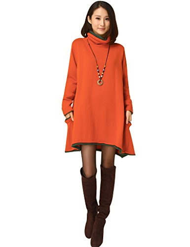 Youlee Damen Rollkragen A-linie Gestrickter Pullover Kleid Pullover Kleid Orange Fit EU 42-48