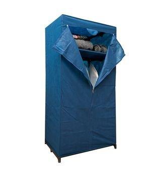 Armadio guardaroba appendiabiti sostegno in acciaio in tessuto blu TNT 75 x 50 x 160 cm con cerniera Belli&Forti 540014