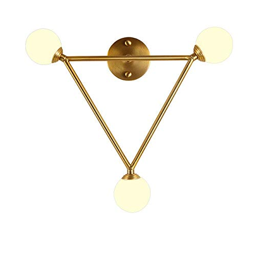 ZLHLL Moderne E27 Wandleuchte Dreieck Design 3-Beleuchtung Wandleuchte mit Glas Lampenschirm Wandleuchter Goldenes Kupfer für Wohnzimmer Schlafzimmer Treppen Gang Flur Loft Nachttischlampen - Golden-kupfer-3 Licht