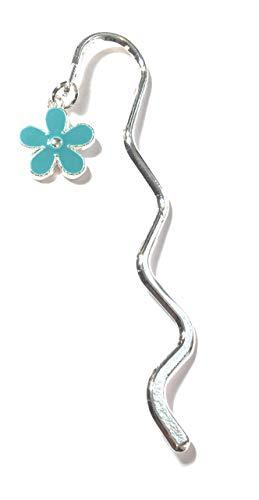 FizzyButton Gifts - Mini segnalibro con ciondolo a forma di fiore, colore argento smaltato, in confezione regalo