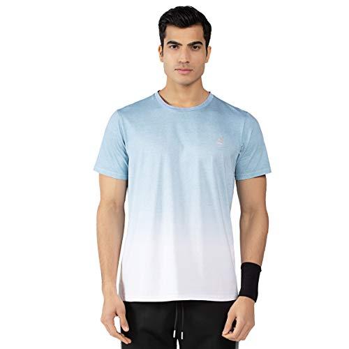 Herren Dip Dye Shirt Herren Baumwolle Kurzarm Dip-Dyed T-Shirts Tops Reflektierender Druck Designer Tee Farben Schwarz und Hellblau (L, Hellblau) -