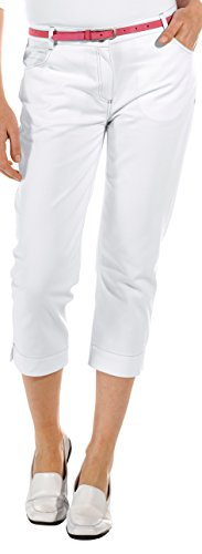 clinicfashion 10613026 Stretch Hose 3/4 Capri Damen weiß, Baumwolle, Größe 42 (Capri-stretch-hose)