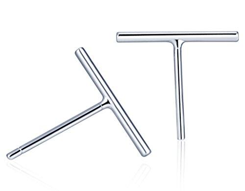 Unendlich U Einfach Damen Ohrstecker 925 Sterling Silber Bar Stecker Ohrringe Hypoallergen Ohrschmuck, Silber -