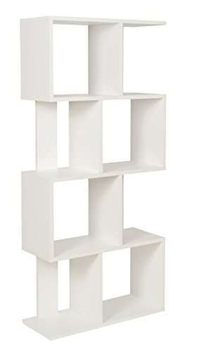 Ts-ideen 11529 scaffale armadio mobiletto di 8 scomparti legno bianco design moderno130 x 60 cm cd dvd libri