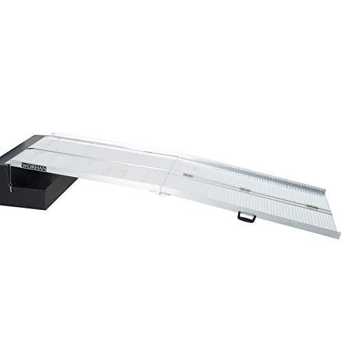 WORHAN 2.44m Rampe Alu Pliable Valise Aluminium Pour Fauteuil Roulant Chargement Scooter Plate-Forme Aluminium Anodisé 244cm R8