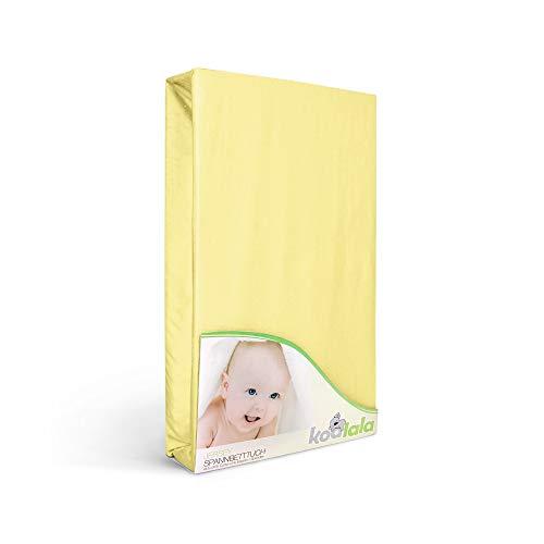 Laufgitter Jersey Spannbettlaken in Gelb von Koalala - 100x100 cm Baumwolle Laken Bettwäsche Spannbetttuch für Baby Laufstall Matratzen – Hypoallergen & Allergiker freundlich