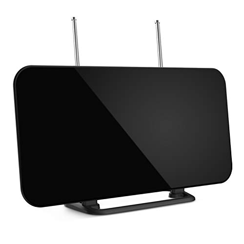 Antenne TNT Intérieur, Amplifiée 60+ Miles Antenne TV Numérique avec Signal Amplificateur Booster et Deux Antennes, Antenne HDTV Freeview avec base Support 4K 1080P HD/VHF/UHF/FM-2019 Version