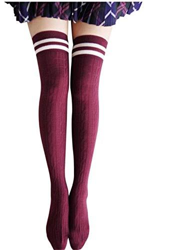 Zolimx Mädchen Frauen College Wind Schenkel hohe Socken Overknee Strümpfe (Rot)
