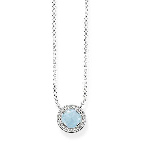 Thomas Sabo Damen-Collier Glam & Soul Luna 925 Sterling Silber Zirkonia hellblau Länge von 40 bis 45 cm KE1495-694-31-L45v