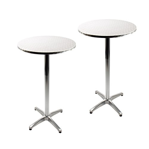 Vanage Table haute Mange-debout - Table de Bistro en Aluminium - Parfait pour l'extérieur et l'intérieur - Aluminium Brossé