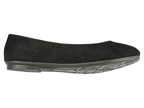 Ballerines velours chaussures femme casual motif ecailles Noir