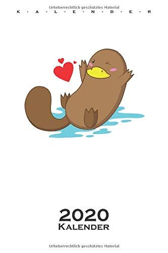 verliebtes Schnabeltier Kalender 2020: Jahreskalender für Tierfreunde und Fans des eierlegenden Säugetiers aus Australien