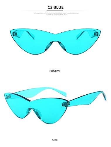HUWAIYUNDONG Sonnenbrillen,One-Piecesunglasses Women Niedliche Sexy Cat Eye Vintage Billige Sonnenbrille Blau