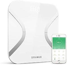 SAKOBS Digitale Körperfettwaage, Gewichtswaage mit app, multifun Smart Personenwaage mit BIA Technik, smarte Waage zur Körperanalyse für ganze Familie, Digitalwaage zur Körperdaten wie BMI BMR Körperwasser Protein Skelettmuskel, bis 180kg