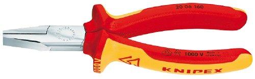 Knipex 20 06 160 Flachzange (verchromt, isoliert, mit Mehrkomponenten-Hüllen, VDE-geprüft, 160 mm)