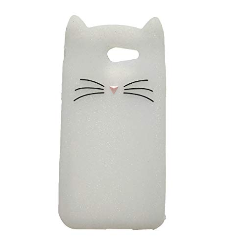 Samsung Galaxy J32017/J3Emerge J3/Prime/AMP Prime 2/Express Prime 2/J3Mission Fall, ifunny Cute 3D Cartoon Tiere Fortune Cat stoßfest und Weiche Schutzhülle aus Rubber Handy, weiß