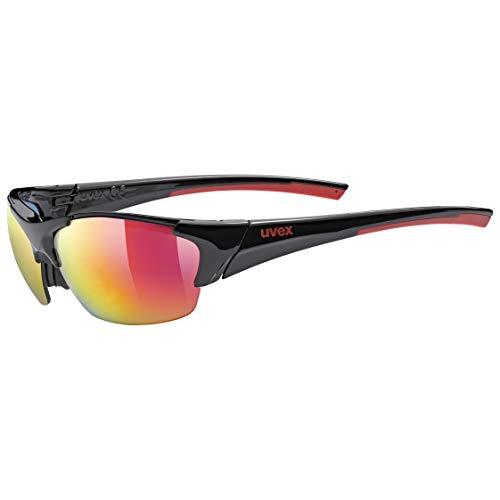 uvex Unisex- Erwachsene, blaze III Sportbrille, black red, one size