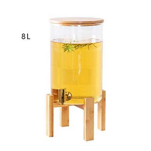 Teemaschinen & -kocher Kaltes Getränk Krug Saft Zylinder Glas Blume Teekanne mit Wasserhahn Trinken EIS Zitrone Tee Tank Home Restaurant Multi-Use 5L / 8L / 11L (Color : Clear, Size : 20 * 43CM) (Tee Mit Zitrone Eis)