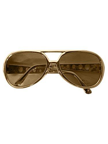 Creative Party Brille Elvis Gold mit Brauner -